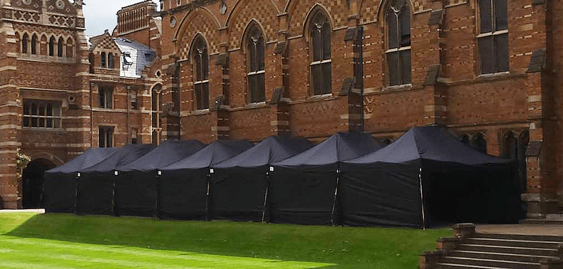 Black marquee hire at a cathedral