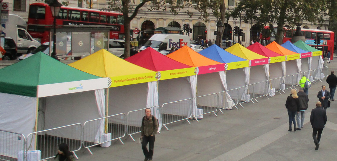 Coloured Roof Marquees at Trafalgar Square