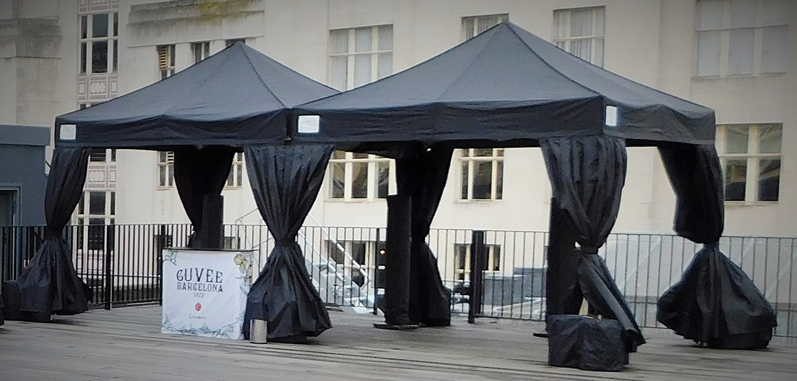 Black marquee hire rooftop