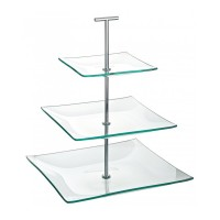 3 Tier Square Glass Cake Stand
